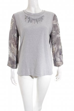 Marc Cain Rundhalspullover Kunstmuster Materialmix-Look