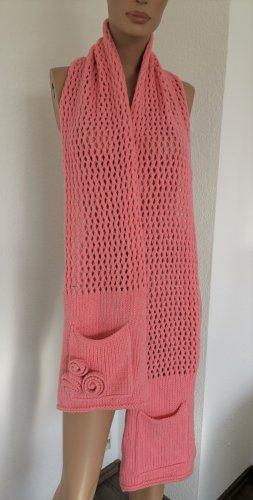 Marc Cain Sciarpa lavorata a maglia rosa Lana d'angora