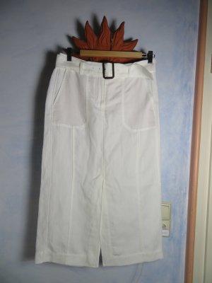 Marc Cain schicker weißer Sommerrock aus Tencel/Ramie - Gr. N2/36- mit eigenem Gürtel - edler Jeans Style - Business Look