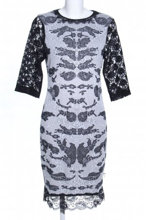 Marc Cain Lace Dress light grey-black abstract pattern party style