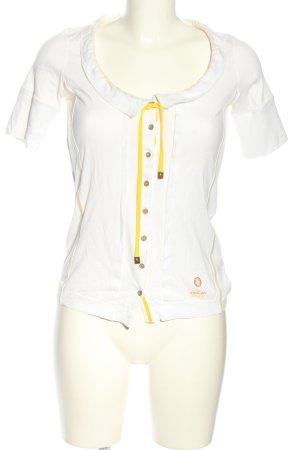 marc cain sports T-Shirt weiß-blassgelb Casual-Look