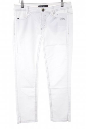Marc Cain Stretch Jeans weiß Webmuster Casual-Look
