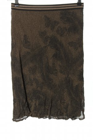 Marc Cain Falda stretch color bronce-negro estampado con diseño abstracto