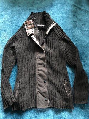 Marc Cain Wełniany sweter czarno-brązowy-stary róż