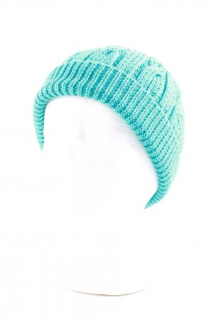 Marc Cain Knitted Hat turquoise cable stitch casual look