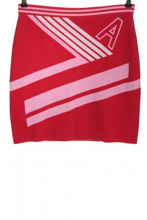 Marc Cain Knitted Skirt red-pink printed lettering casual look