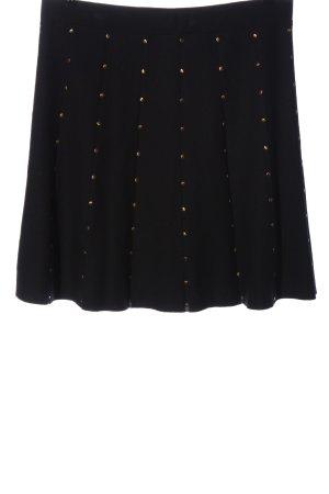 Marc Cain Jupe tricotée noir-doré motif de tache style décontracté