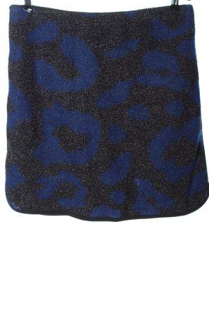 Marc Cain Jupe tricotée noir-bleu motif léopard style décontracté