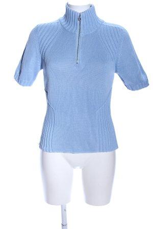 Marc Cain Strickshirt blau Zopfmuster Casual-Look