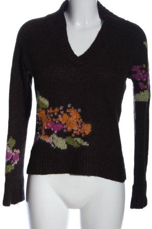 Marc Cain V-Ausschnitt-Pullover Blumenmuster Casual-Look