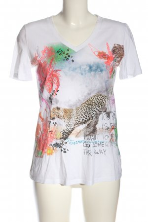 Marc Cain V-Neck Shirt white themed print casual look