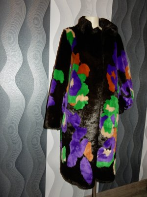 Marc Cain Fake Fur Coat black-dark brown