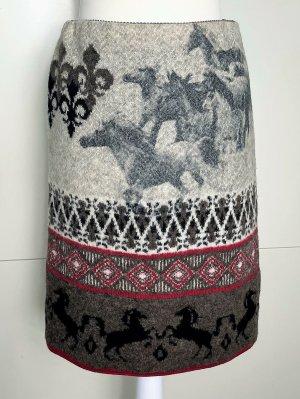 * MARC CAIN * WINTER STRICK ROCK  90% WOLLE grau braun Ethno Pferde Gr N2 36 38 M S
