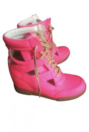 ❤️ Marc Jacobs 39 Cut Out neon Wedge Sneakers pink rosa Schuhe