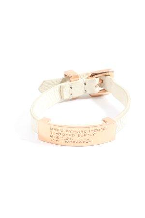 Marc Jacobs Brazalete de cuero blanco puro-color oro estilo «business»