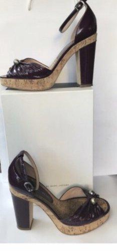 Marc Jacobs Escarpin à plateforme marron clair-rouge mûre