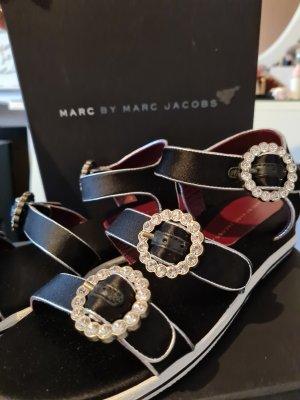 Marc Jacobs Sandały na obcasie z rzemykami czarny-srebrny