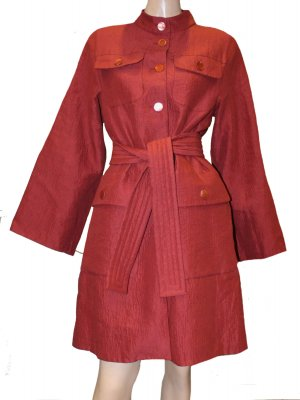 Marc Jacobs Between-Seasons-Coat bordeaux-brown linen