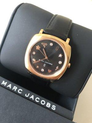 Marc Jacobs Montre avec bracelet en cuir noir-doré