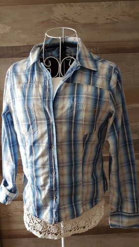 Marc O'Polo Geruite blouse wit-azuur