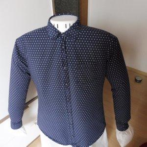 Marc O'Polo Bluse Blau -weiß gepunktet Allover-Druck Business-Look