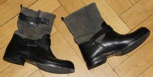 Marc O Polo Booties Boots Stiefel schwarz grau Leder Gr. 38 TOP Zustand!
