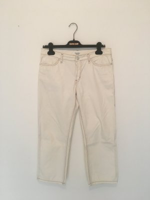 Marc O'Polo Campus Jeans Stiefelhose denim gerade straight 32 40  Five Pocket Hose Unterteil offwhite camel stitching 7/8 Ankle Knöchel
