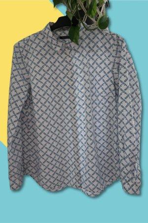 Marc O'Polo Damen Bluse Langarmbluse Bluse mit Logo Allover Print Monogramm Kariert