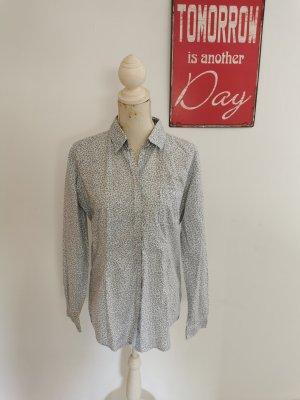 Marc O` Polo Damen Langarm Bluse Hemdbluse weiß blau Größe 42