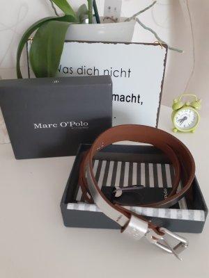 Marc O'Polo Cinturón de cuero color plata