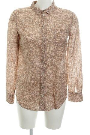 Marc O'Polo Hemd-Bluse beige-weiß Allover-Druck schlichter Stil