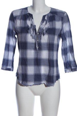 Marc O'Polo Hemd-Bluse weiß-blau Allover-Druck Casual-Look