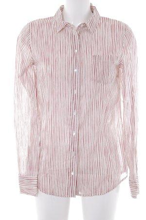 Marc O'Polo Hemd-Bluse wollweiß-dunkelrot Streifenmuster Casual-Look