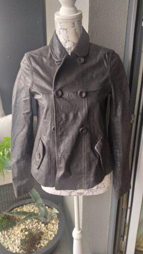 Marc O'Polo Jacke Lederjacke grau metallic gr 34 XS