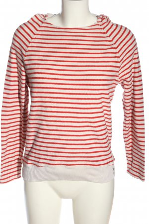 Marc O'Polo Kapuzenpullover weiß-rot Streifenmuster Casual-Look