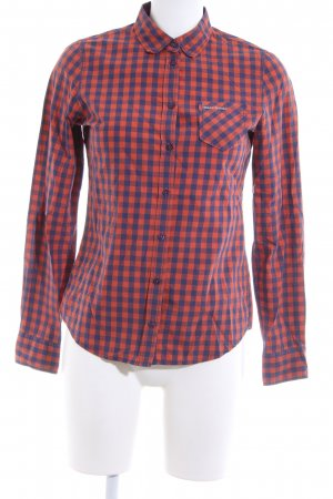 Marc O'Polo Karobluse rot-blau Allover-Druck Casual-Look