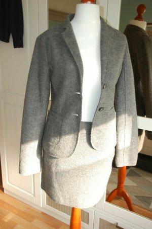 Marc O'Polo Kostüm grau Gr. 36 38 Wolle kurzer Rock Blazer + extra Rock