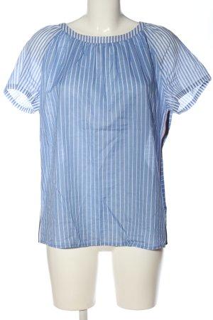 Marc O'Polo Kurzarm-Bluse blau-weiß Streifenmuster Casual-Look