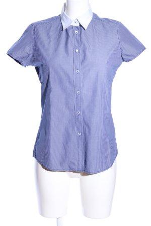 Marc O'Polo Kurzarm-Bluse blau-weiß Allover-Druck Casual-Look