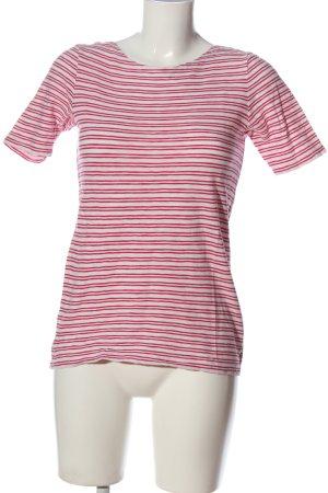 Marc O'Polo Kurzarm-Bluse weiß-pink Streifenmuster Casual-Look