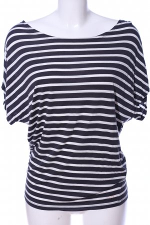 Marc O'Polo Kurzarm-Bluse schwarz-weiß Streifenmuster Casual-Look