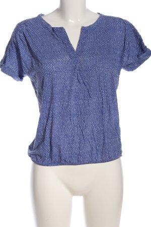 Marc O'Polo Kurzarm-Bluse blau-weiß abstraktes Muster Casual-Look
