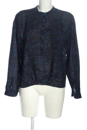 Marc O'Polo Langarm-Bluse schwarz-blau Allover-Druck Business-Look