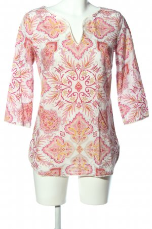 Marc O'Polo Langarm-Bluse pink-wollweiß abstraktes Muster Casual-Look