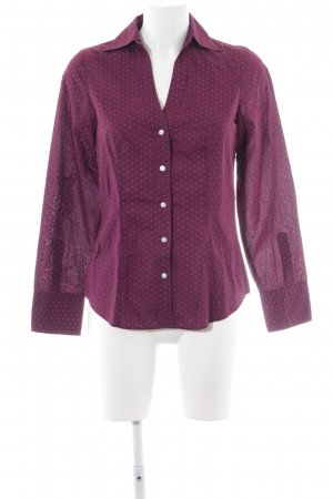 Marc O'Polo Langarm-Bluse braunviolett-weiß Punktemuster Casual-Look