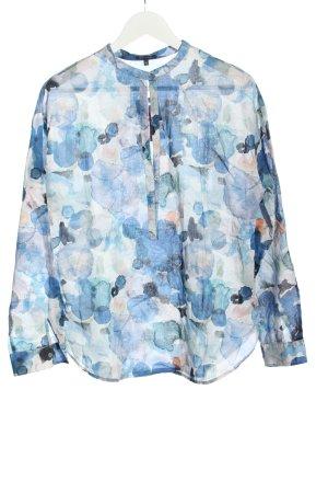 Marc O'Polo Langarm-Bluse weiß-blau abstraktes Muster Casual-Look