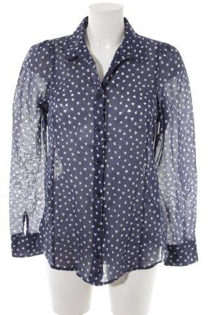 Marc O'Polo Langarm-Bluse dunkelblau-weiß Herzmuster Casual-Look