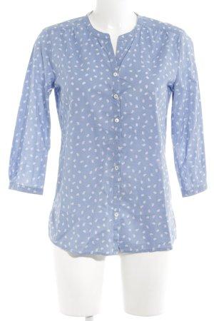 Marc O'Polo Langarm-Bluse kornblumenblau-weiß Allover-Druck Casual-Look