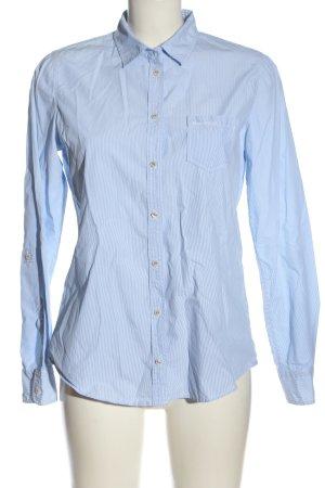 Marc O'Polo Langarmhemd blau-weiß Schriftzug gestickt Business-Look