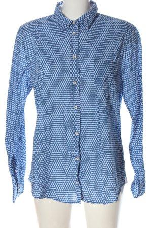 Marc O'Polo Langarmhemd weiß-blau Allover-Druck Elegant